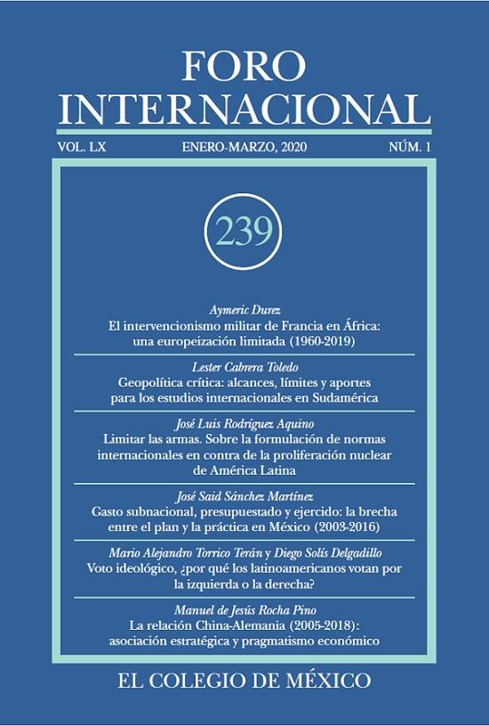 Ver Vol. LX, 1 (239) Enero-Marzo, 2020